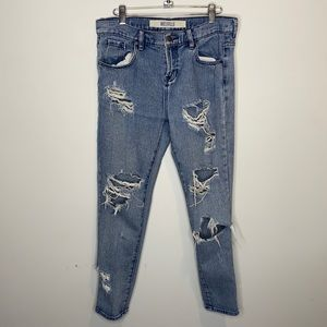 Melville High Waisted Distressed Straight Jeans